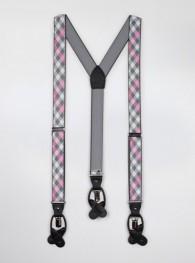 Hosenträger zugelastisch grau rosa kariert