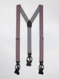 Hosenträger elastisch Blumenmuster grau-pink