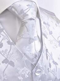 Hochzeitsweste Blumenmuster silber