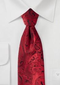 Krawatte elegantes Paisley-Motiv rot schwarz
