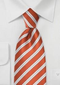 Krawatte terracotta italienisches Streifen-Dessin
