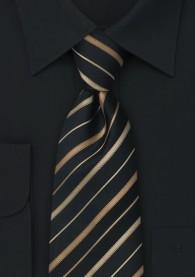 Krawatte schwarz Streifen gold