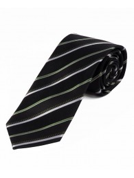 Stylische XXL-Krawatte gestreift teerschwarz weiß