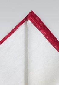 Einstecktuch naturweißes Leinen roter Rand