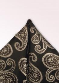 Einstecktuch Paisley-Muster teerschwarz beige