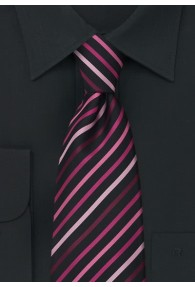 Schwarze Clip-Krawatte rosa Streifen