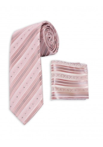 Set Krawatte und Tuch rosa Streifendesign