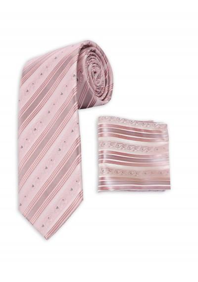 Set Krawatte und Tuch rosa Streifendessin
