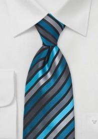 Krawatte Streifendesign Petrol Silber Schwarz
