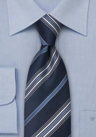 Krawatte Linien blau weiß XXL