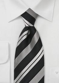 Stilsicher gestreifte XXL-Krawatte in Schwarz und