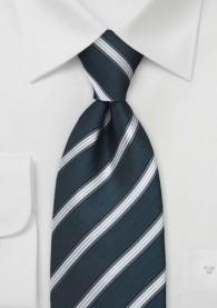 Krawatte Metallclip Streifenmuster Silbergrau