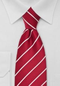 Krawatte Clip- Streifen weiß kirschrot