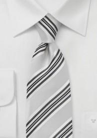 Streifendessin-Krawatte überlang silber perlweiß