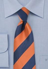 Krawatte Streifen breit orange navyblau