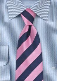 Kinderkrawatte dunkelblau rosa Streifendessin