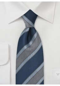 Krawatte edles Linien-Pattern marineblau