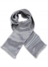 Krawattenschal perlweiß hellgrau Kästchen-Pattern