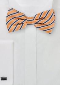 Herrenfliege gestreift orange perlweiß