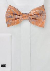 Herrenfliege Paisley-Muster orange taubenblau