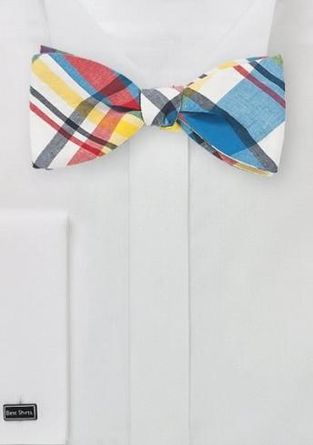 Bindefliege Karo-Muster rot blau weiß