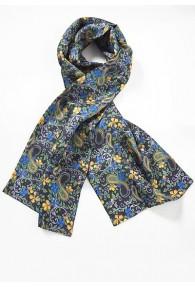 Tuchschal Blumenmuster marineblau