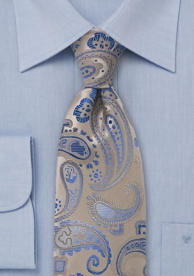 Kinder-Krawatte Paisleys beige himmelblau