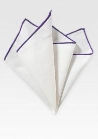 Einstecktuch naturweißes Leinen violetter Rand