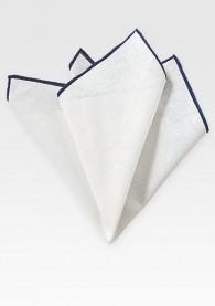 Einstecktuch naturweißes Leinen navyblauer Rand