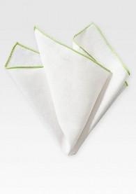 Ziertuch naturweißes Leinen blassgrüner Rand