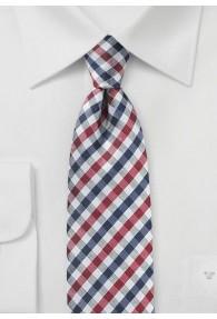 Krawatte Vichy-Karo kirschrot navy