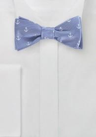 Selbstbinderfliege hellblau Anker-Motiv