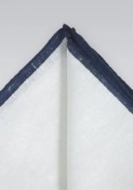 Einstecktuch naturweißes Leinen nachtblauer Rand