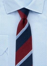 Krawatte breite Linien nachtblau dunkelrot